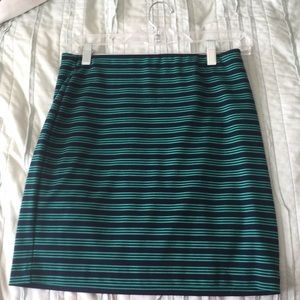 Green and navy striped skirt